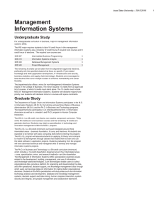 Management Information Systems Undergraduate Study Iowa State University – 2015-2016