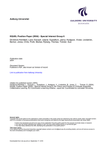 Aalborg Universitet EQUEL Position Paper (2004) - Special Interest Group 6