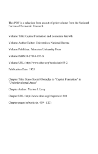 This PDF is a selection from an out-of-print volume from... Bureau of Economic Research Volume Title: Capital Formation and Economic Growth