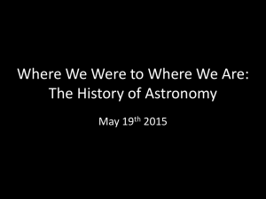 Where We Were to Where We Are: The History of Astronomy