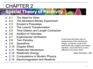 CHAPTER 2: Special Theory of Relativity