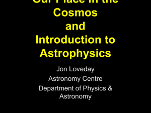 Our Place in the Cosmos and Introduction to