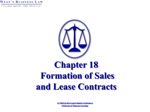 Chapter 19: Formation of Sales and Lease Contracts
