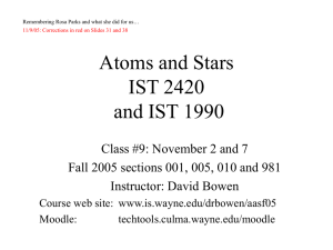 Atoms and Stars IST 3360 and IST 1990