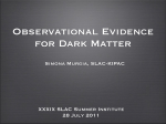 Observational Evidence for Dark Matter Simona Murgia, SLAC-KIPAC XXXIX SLAC Summer Institute