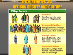 LECTURE NOTES 3.3 AFRICAN SOCIETY AND CULTURE