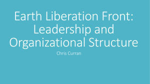 Earth Liberation Front Leadership and Organizational Structure