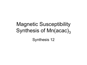 Magnetic Susceptibility Synthesis of Mn(acac)3