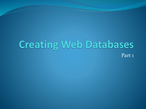 Creating Web Databases.