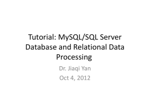 Tutorial: MySQL Database and Relational Data Processing