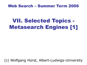 Web Search - Electures