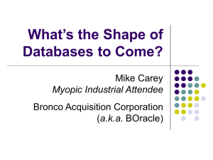 What`s the Shape of Databases to Come?