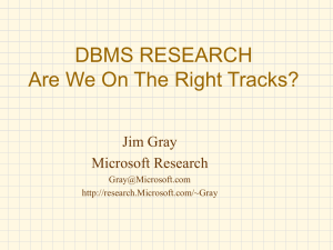 DBMS RESEARCH Are We On The Right Tracks?