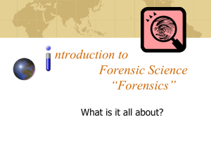 ntroduction to Forensics - Fairfield Public Schools