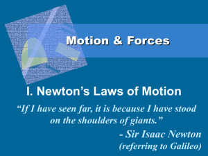 I. Newton's Laws of Motion