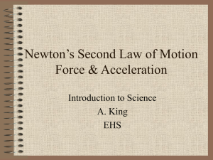Newton's Second Law of Motion Force & Acceleration