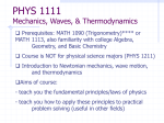 PHYS 1111 Mechanics, Waves, & Thermodynamics