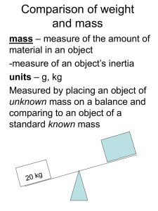 Comparison of weight and mass