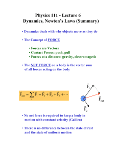 Physics 111 - Lecture 6 Dynamics, Newton's Laws (Summary)