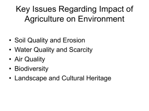 Issues Relating to Impact of Agriculture on Environment