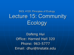 BIOL 4120: Principles of Ecology Lecture 15: Community Ecology