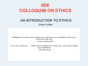 ETHICS: BACKGROUND AND OVERVIEW