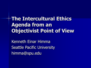 The Intercultural Ethics Agenda from an Objectivist Point of View