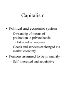 Week 3 Lecture Capitalism and Corporations