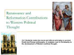 Renaissance and Reformation Contributions to Western Political