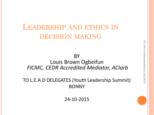 Leadership and ethics in decision making