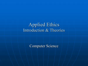 Applied Ethics Introduction & Theories