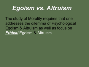 What are Egoism & Altruism? - Fort Thomas Independent Schools