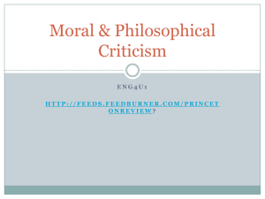 Moral & Philosophical Criticism