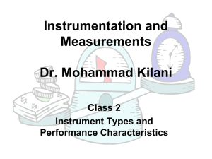 Instrument types and Performance Characteristics - UJ