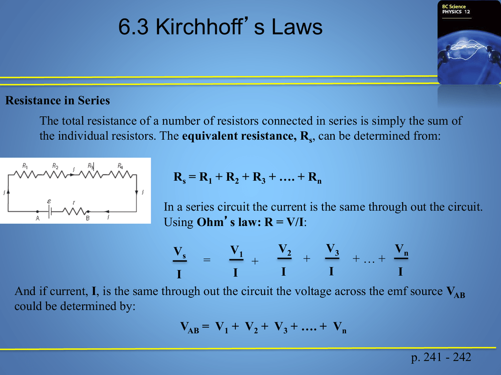 Kirchhoffs Laws Edvantage Science The Combined Resistance Of Resistors In Series Is Sum All