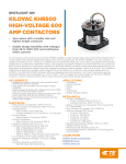 KILOVAC KHR500 HIGH-VOLTAGE 600 AMP CONTACTORS SPOTLIGHT ON