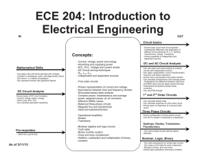 ECE 204: Introduction to Electrical Engineering  Mathematical Skills