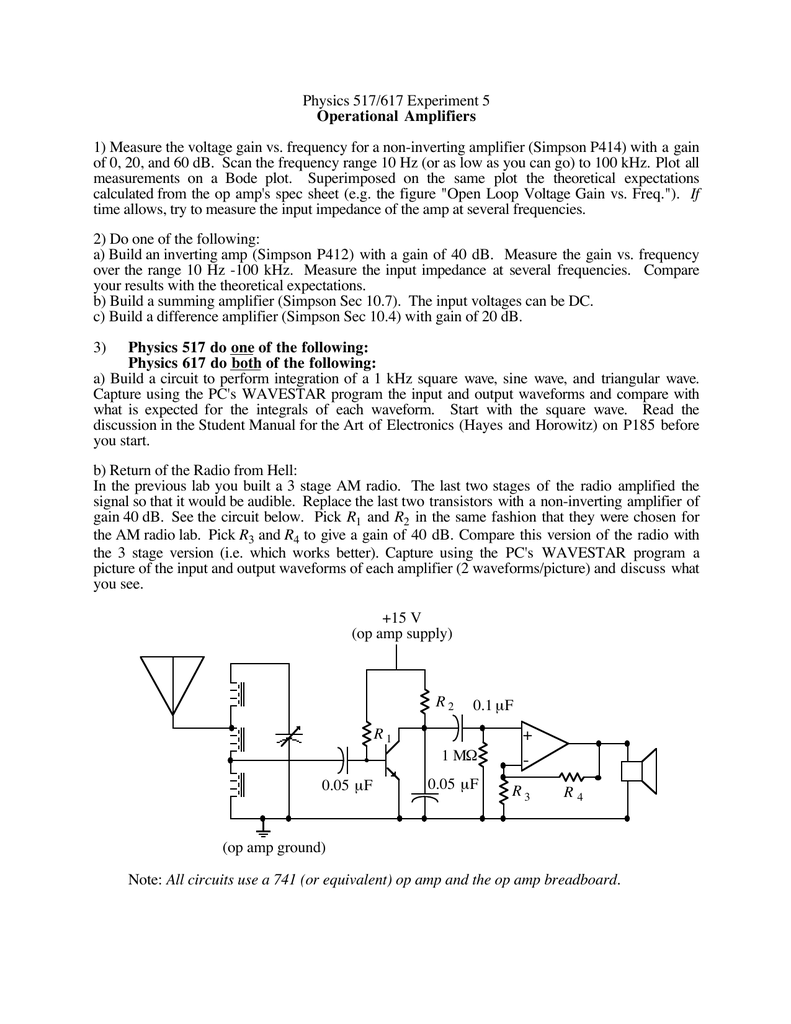 Physics 517 617 Experiment 5 Operational Amplifiers Amplifier Above Consists Of Two 741 Op Amps In A Follower With Gain