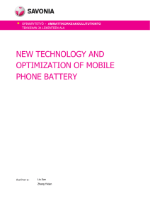 NEW TECHNOLOGY AND OPTIMIZATION OF MOBILE PHONE BATTERY