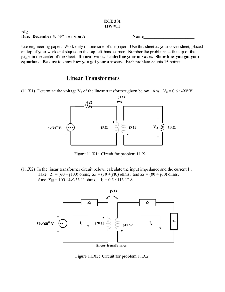 Ece 301 Hw 11 Wlg Figure 2 Transformercircuit Diagram