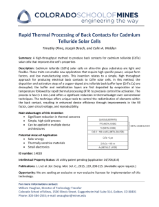 Rapid Thermal Processing of Back Contacts for Cadmium Telluride Solar Cells