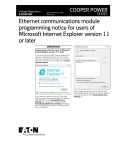Ethernet communications module programming notice for users of or later