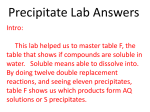 Precipitate Lab Report Power Point with Answers