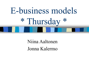 E-business models * Thursday *