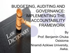 BUDGETING, AUDITING AND GOVERNANCE