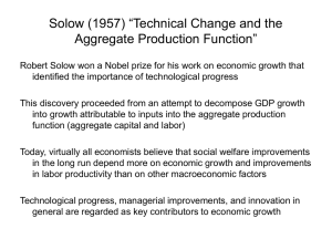"Solow (1957) ""Technical Change and the Aggregate"