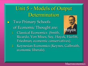 Unit 5 - Models of Output Determination