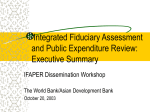 Integrated Fiduciary Assessment and Public Expenditure