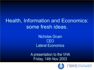 Health, Information and Economics: some fresh ideas