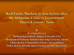 Real Estate Markets in Asia before/after the Subprime Crisis vs